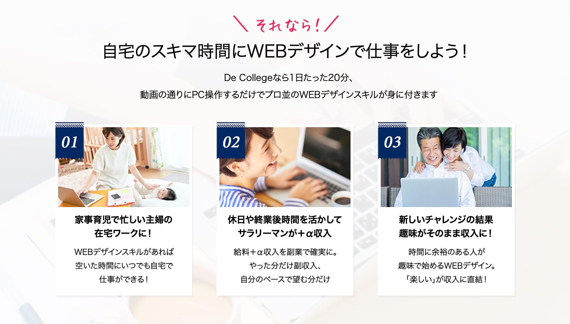 それなら、自宅のスキマ時間にWEBデザインで仕事をしよう!